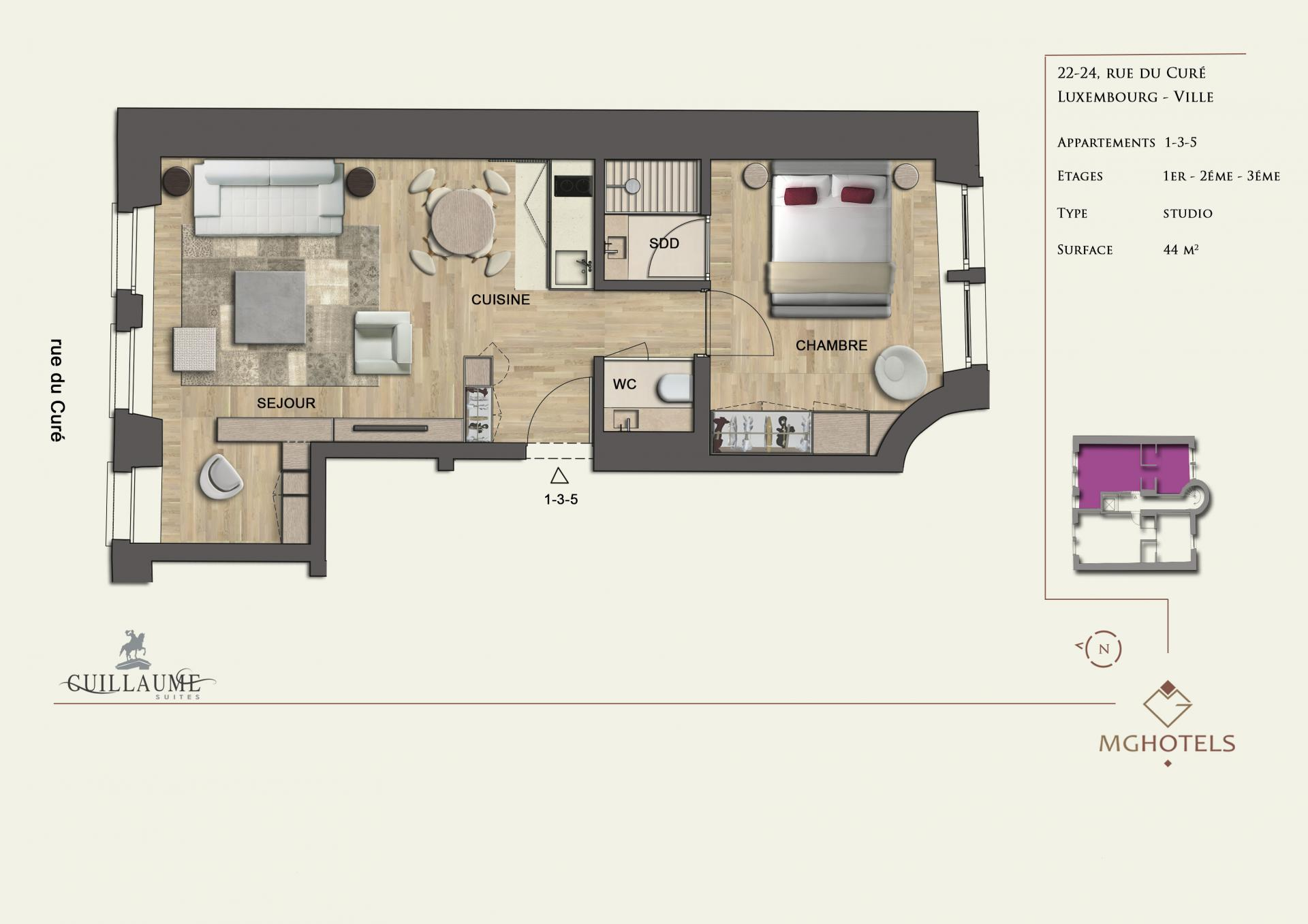 Floor plan 1 at Guillaume Suites, Centre, Luxembourg