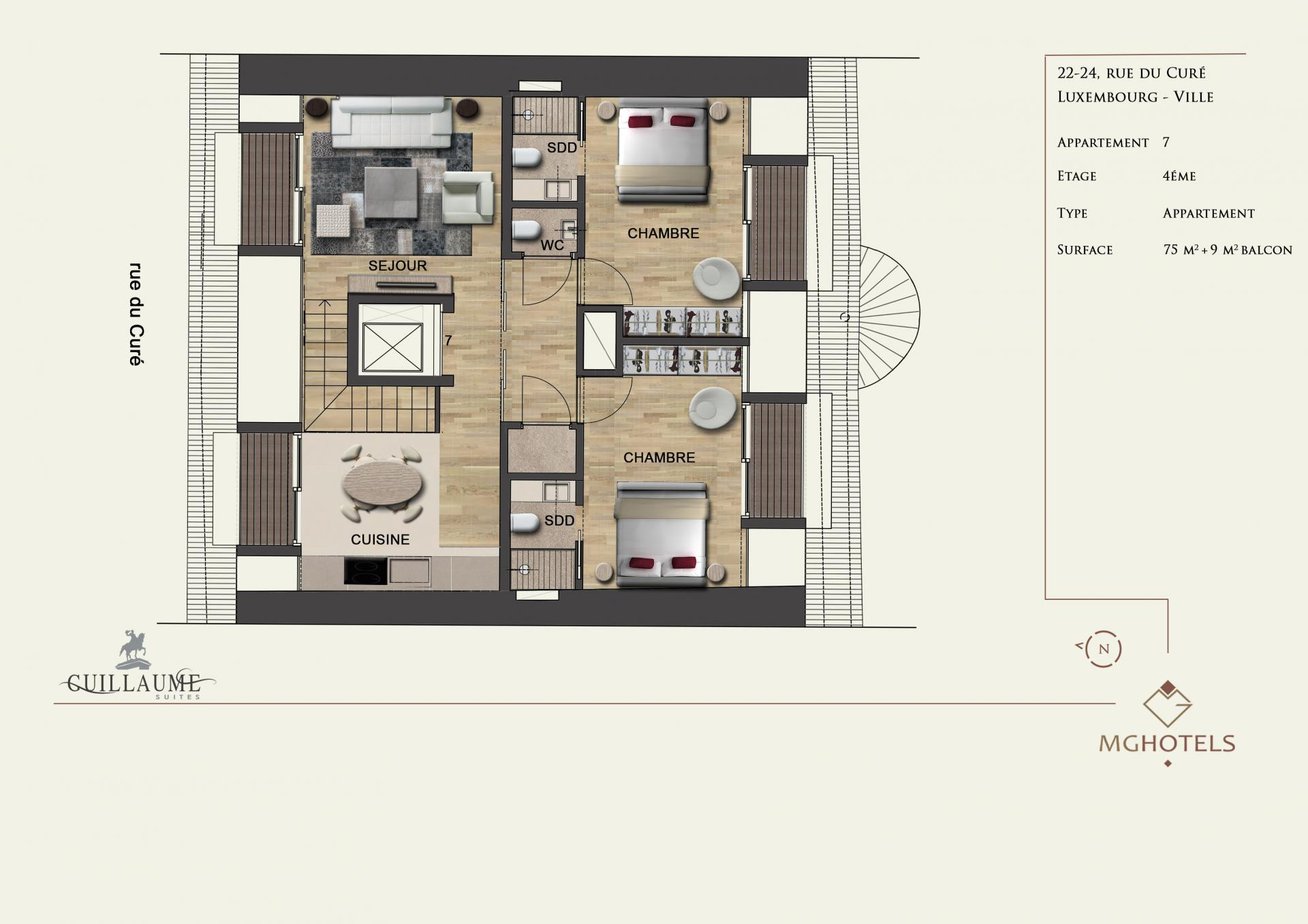 Floor plan 2 Guillaume Suites, Centre, Luxembourg