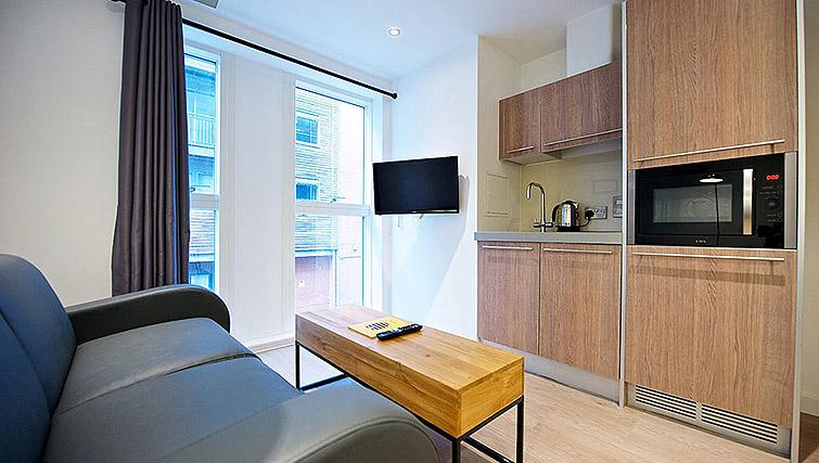 Living space at Staycity Birmingham Newhall Square