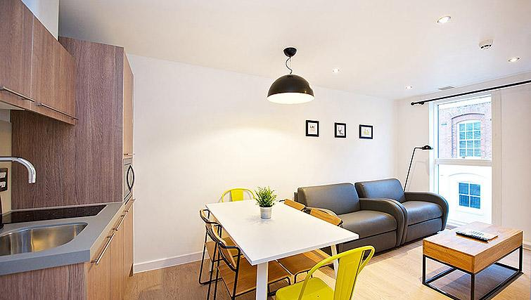 Compact dining area at Staycity Birmingham Newhall Square