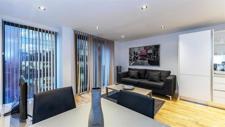 Modern living area at Flying Butler London Bridge Apartments