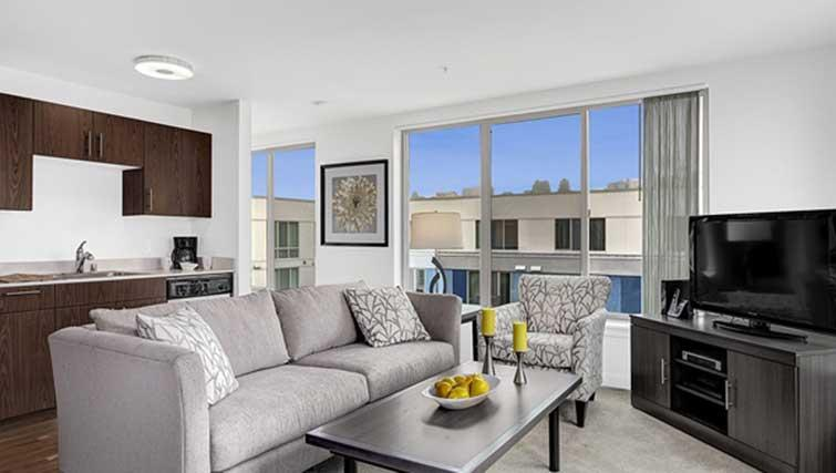 Living area at Dimension Apartments