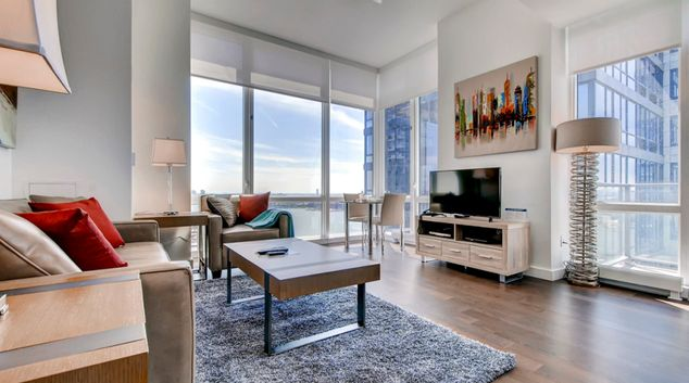 Living area at Sky New York Apartments, Hell's Kitchen, New York