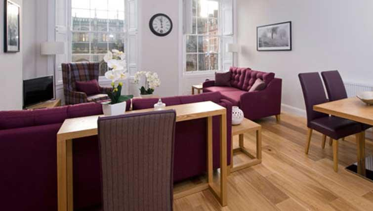Purple living area at Princes Street Residence