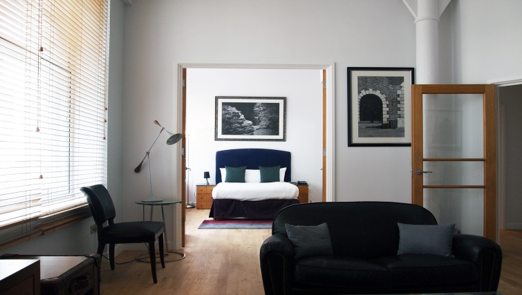 View of the bedroom at 196 Bishopsgate Apartments