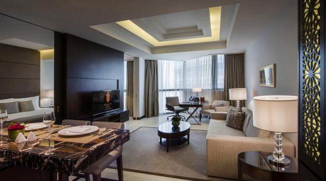 Living room at Bab Al Qasr Apartments