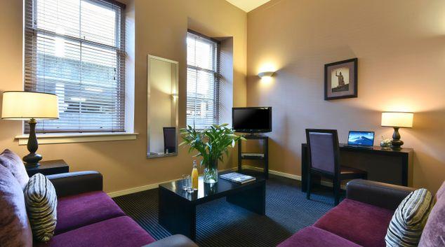 Living room at Fraser Suites Glasgow