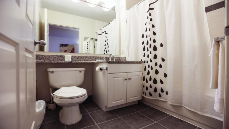 Bathroom at Liberty Towers Studio