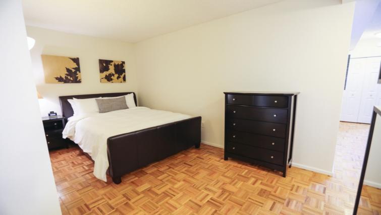 Bedroom at Liberty Towers Studio