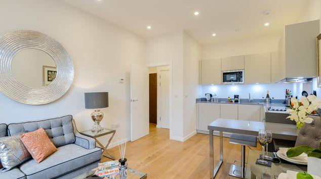 Living room at LAK Serviced Apartments, Gloucester Road, London