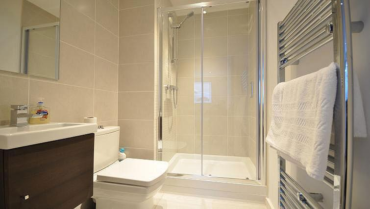 Shower room at Keystone Building Apartment