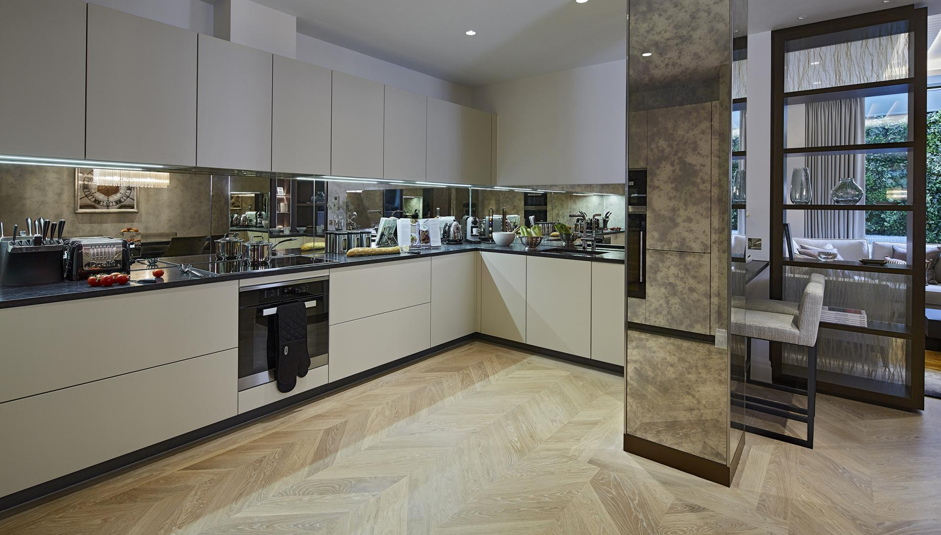 Large kitchen at Cheval Hyde Park Gate