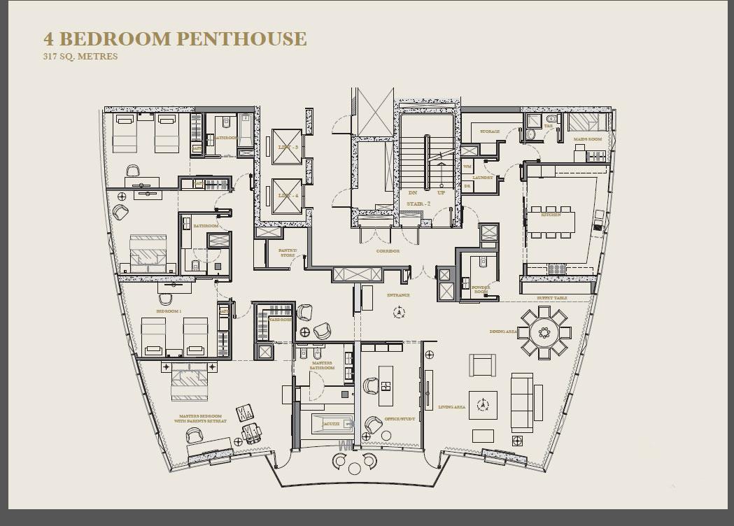 Four bedroom apartment floor plan at Marina Apartments