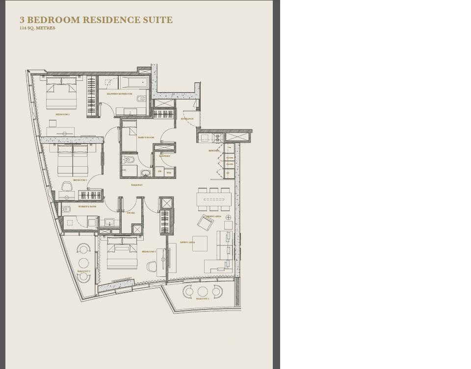 Three bedroom apartment floor plan at Marina Apartments