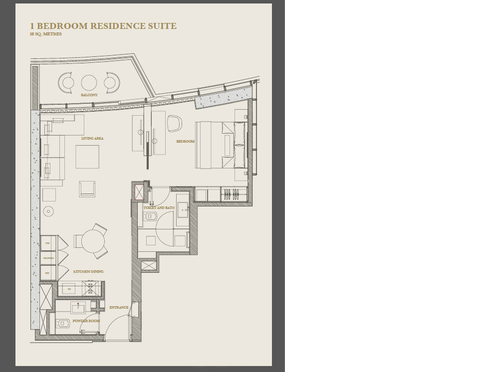 One bedroom apartment floor plan at Marina Apartments