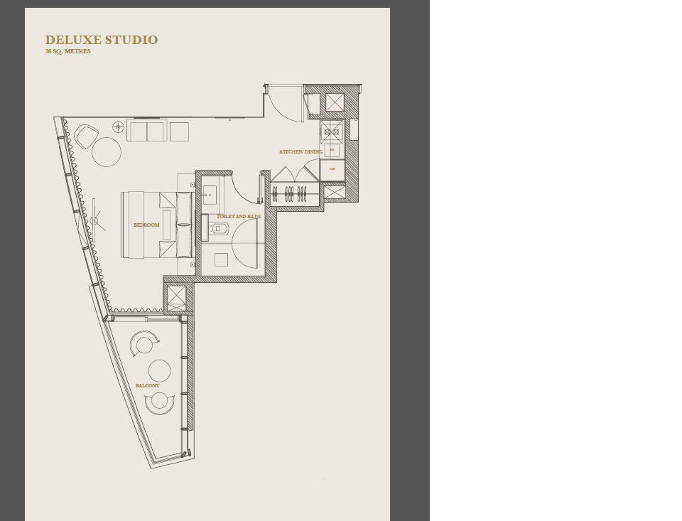 Studio apartment floor plan at Marina Apartments