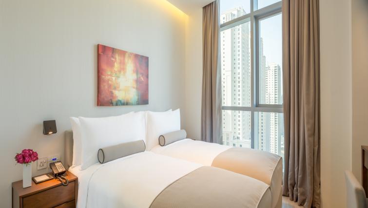 Large windows in bedroom at InterContinental Dubai Marina