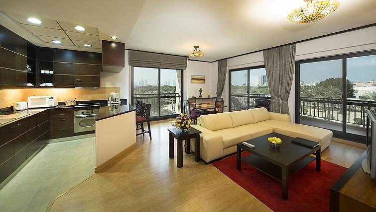 Open plan living area at Park Hotel Apartments