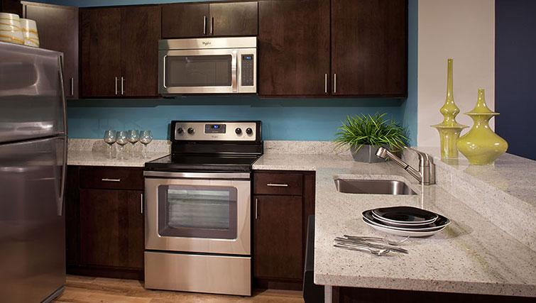 Kitchen at Bank Street Commons Apartments