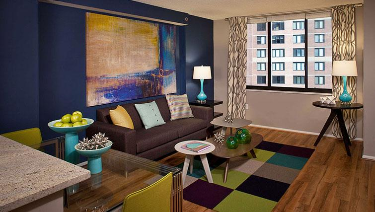 Living area at Bank Street Commons Apartments
