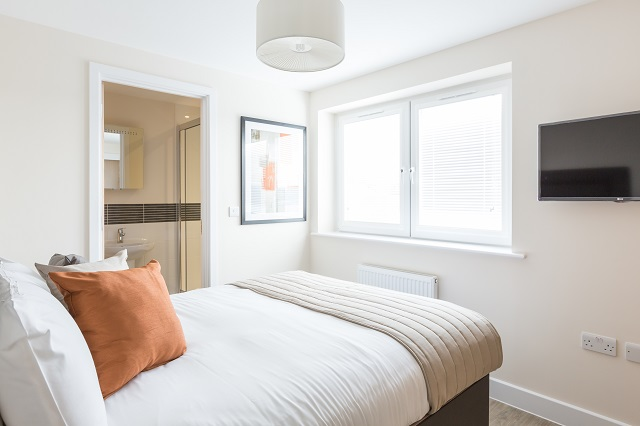 Bright bedroom at Central Gate Apartments