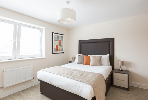 Stylish bedroom at Central Gate Apartments