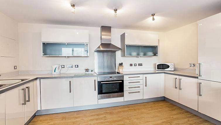 Equipped kitchen at Vizion Milton Keynes Apartments
