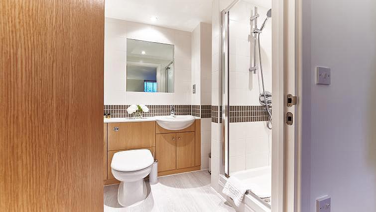 Shower room at Vizion Milton Keynes Apartments