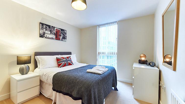 Bright bedroom at Vizion Milton Keynes Apartments