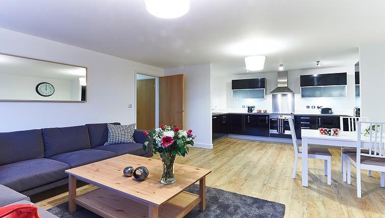 Living area/kitchen at Vizion Milton Keynes Apartments