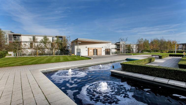 Communal gardens at Vizion Milton Keynes Apartments