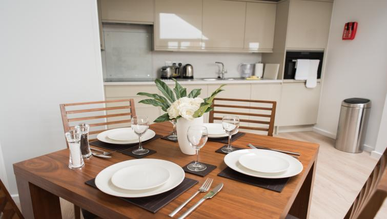 Dining table at Nelson Court Apartments
