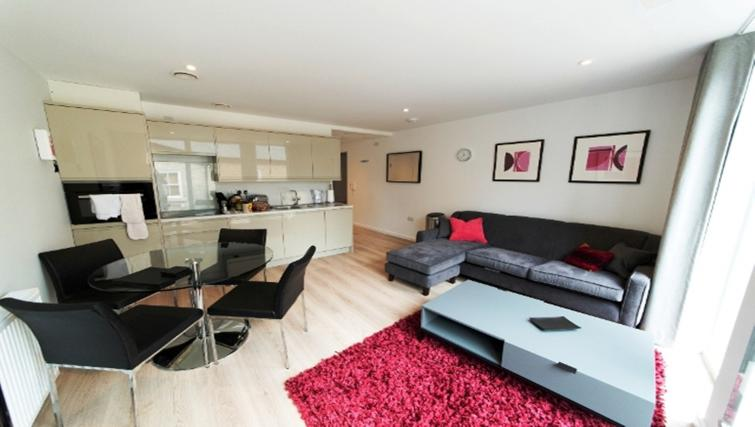 Open-plan living area at Nelson Court Apartments