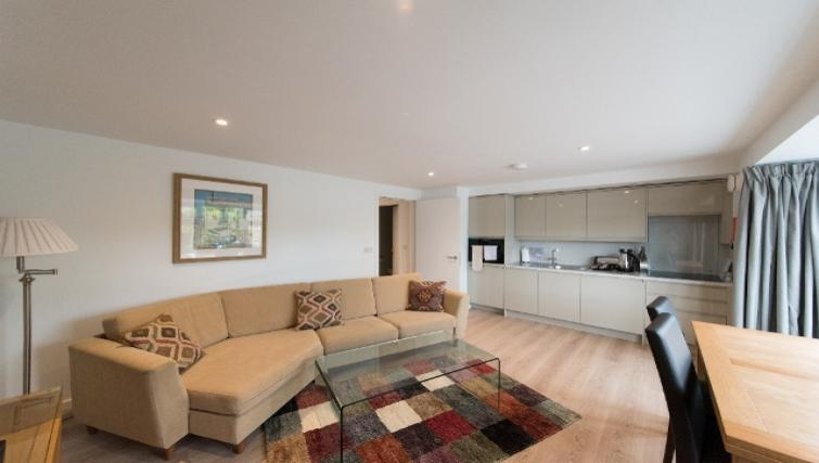 Modern living area at Nelson Court Apartments