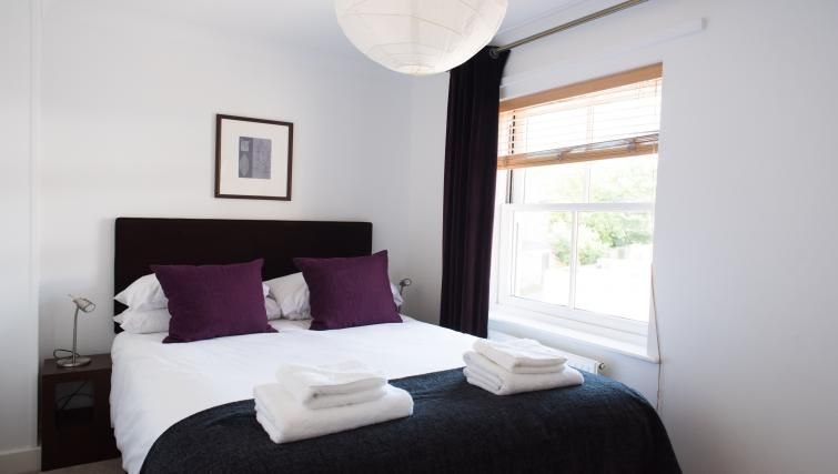 Bright bedroom at Nelson Court Apartments