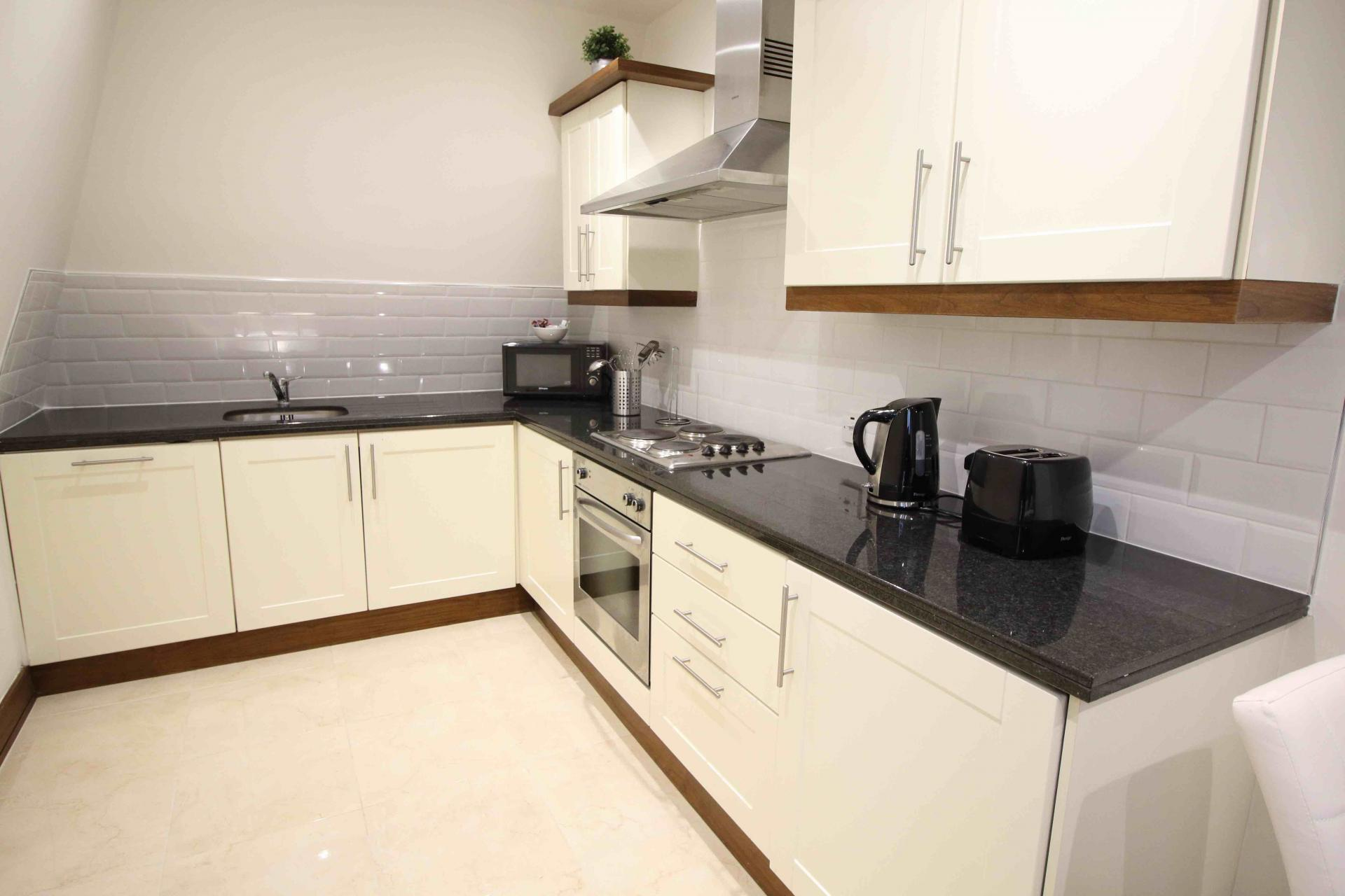 Equipped kitchen at O'Connell Bridge Apartments, Centre, Dublin