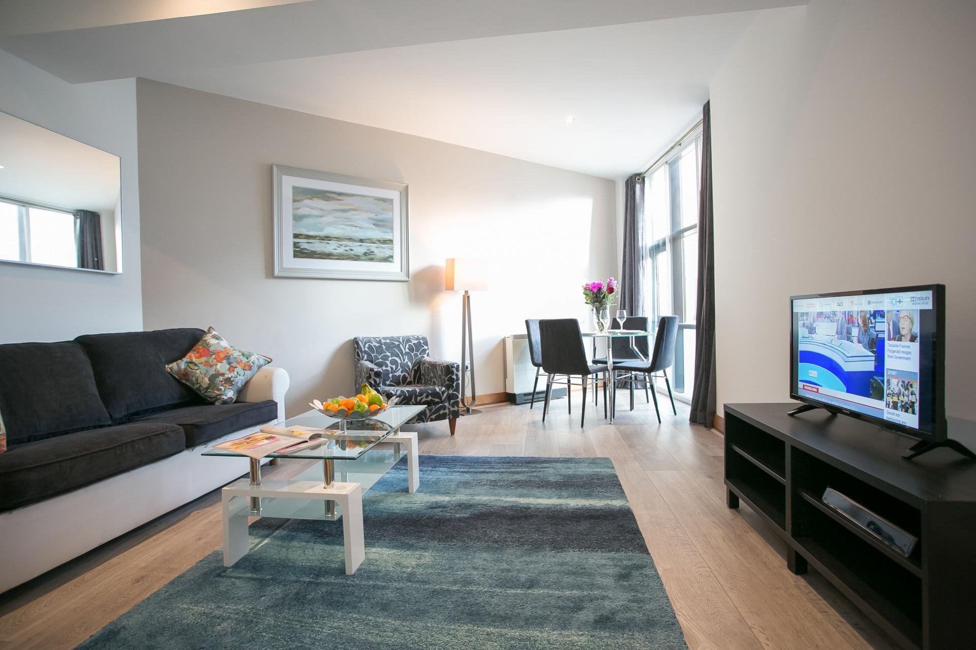 Living/dining area at O'Connell Bridge Apartments, Centre, Dublin