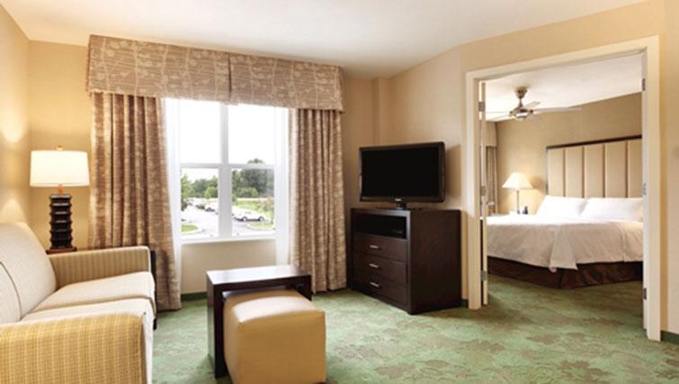 Spacious living area at Homewood Suites Harrisburg-West Hershey