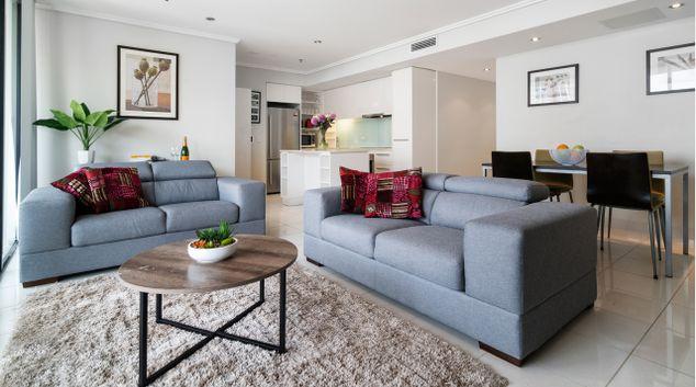 Living room at Quest River Park Central