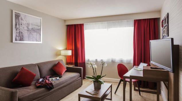 Stylish living area at Adagio Geneve Saint Genis Pouilly