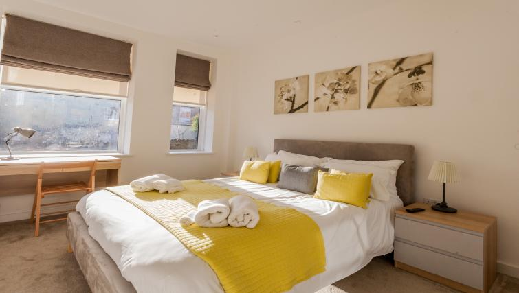 Comfy bed at Bury Fields House Apartments