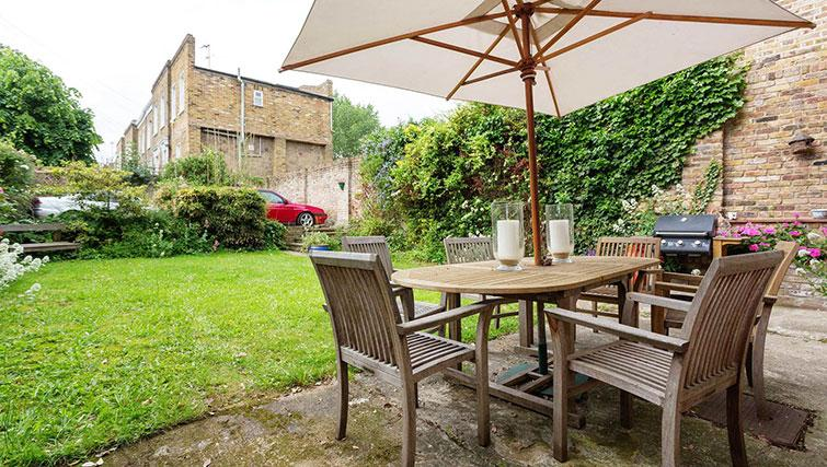 Private patio at Englefield Road House