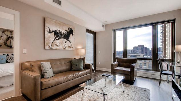 Living area at Bartlett Apartments, Pentagon City, Arlington