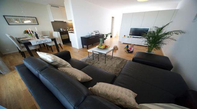 Living room at Riedmatt 30 Apartments