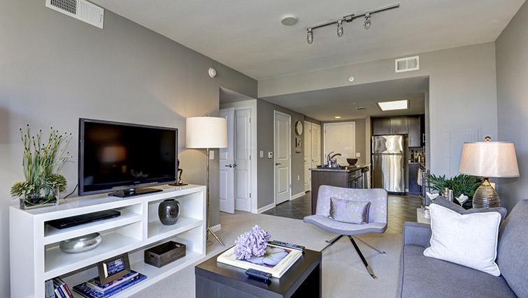 Living room at Metropolitan Park Apartments