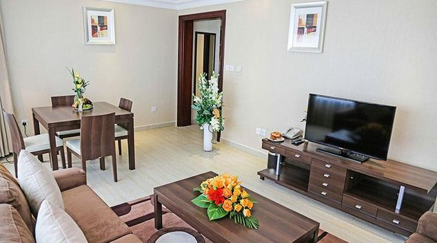 Living area at Oriental Hotel Apartments