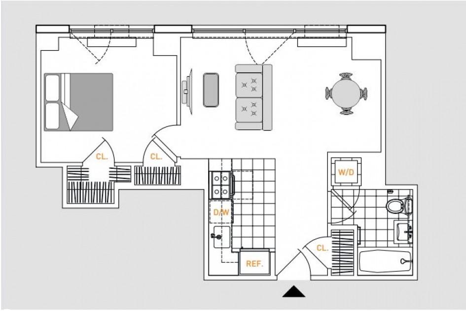 One bedroom floor plans at 808 Columbus Avenue Apartments