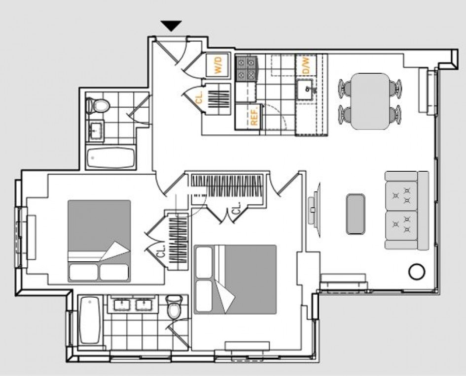 Two bedroom floor plans at 808 Columbus Avenue Apartments
