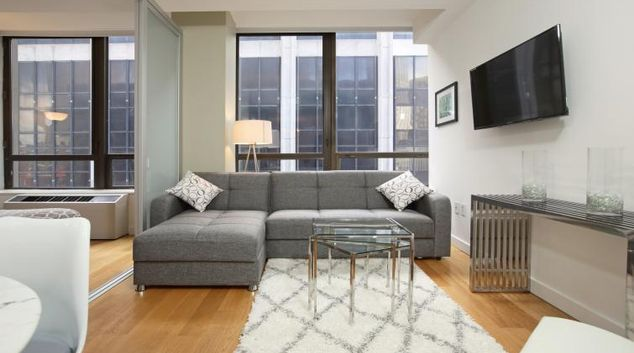 Comfortable living area at Wall Street Apartments