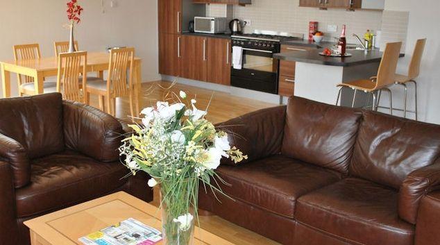 Simplistic living area in West Tollcross Apartments